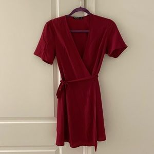 Burgundy mini wrap dress